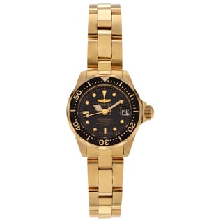 Invicta Women's 8943 Pro Diver 8943 Gold-tone Black Dial Link Watch