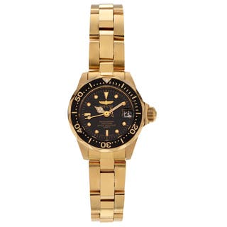 Invicta Women's 8943 Pro Diver 8943 Gold-tone Black Dial Link Watch https://ak1.ostkcdn.com/images/products/13449377/P20139518.jpg?impolicy=medium