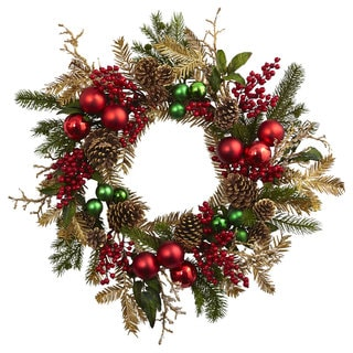 Nearly Natural Red and Gold-tone Plastic 24-inch Ornament, Pine, and Pinecone Wreath