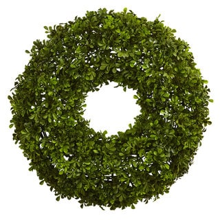 Link to Nearly Natural 22-inch Boxwood Wreath Similar Items in Decorative Accessories
