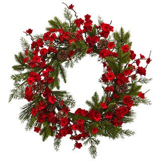 Nearly Natural 24-inch Plum Blossom Pine Wreath