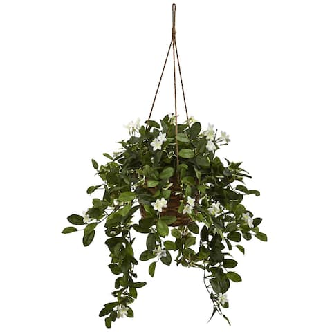 Nearly Natural Silk Mixed Stephanotis Hanging Basket