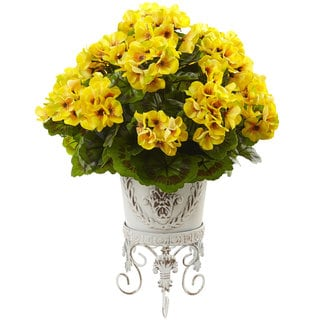 Nearly Natural Yellow Silk Geranium with White Metal Planter