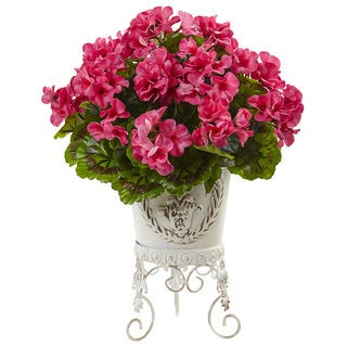 Nearly Natural Pink Silk UV-resistant Indoor/ Outdoor Geranium with Metal Planter