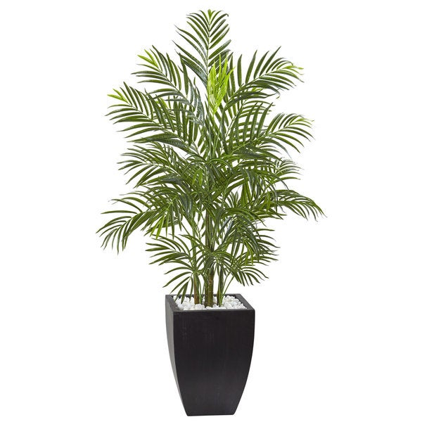 Nearly Natural 4.5-foot UV-resistant Indoor/Outdoor Areca Palm Tree with Black Wash Planter