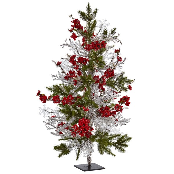 Nearly Natural Silk 26-inch Plum Blossom Pine Tree with Icy Twigs