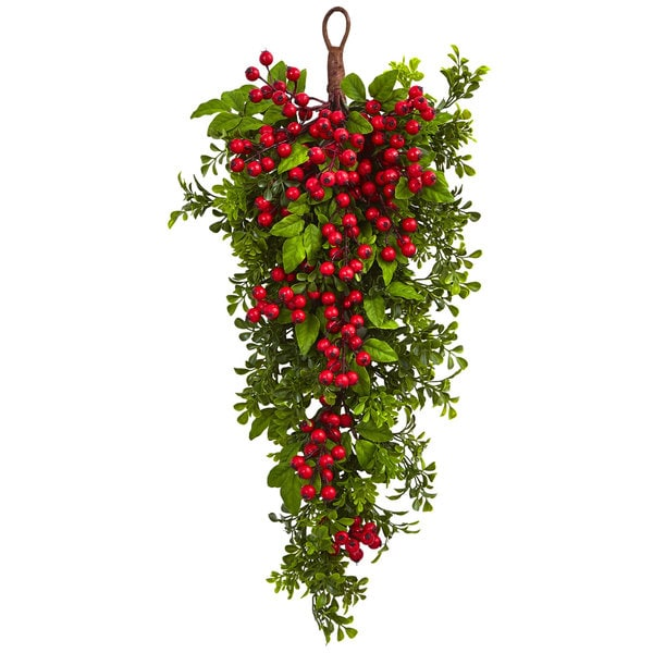 Nearly Natural Berry Boxwood Red Silk 26-inch Teardrop Plant