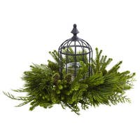 Nearly Natural Mixed Faux Pine Birdhouse Candelabrum