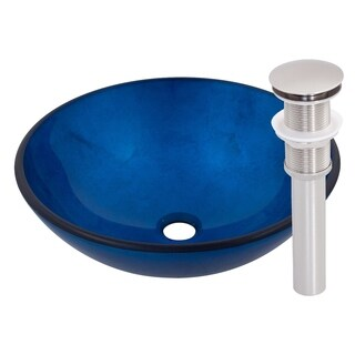 Novatto Verdazzurro Blue Foil-painted Glass and Brushed Nickel Brass Vessel Bathroom Sink Set