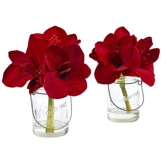 Nearly Natural Faux Amaryllis in Clear Glass Vase (Set of 2)
