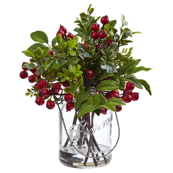 Nearly Natural Silk Berry and Boxwood Arrangement in Glass Jar