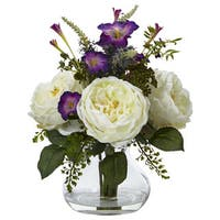 Nearly Natural Rose and Morning Glory Arrangement with Vase
