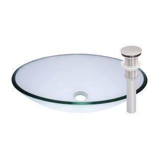 Novatto Ovale Brushed-nickel Glass Vessel Bathroom Sink Set