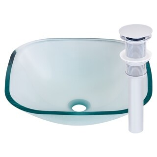 Novatto Piazza Chrome Tempered Glass/Brass Vessel Bathroom Sink Set