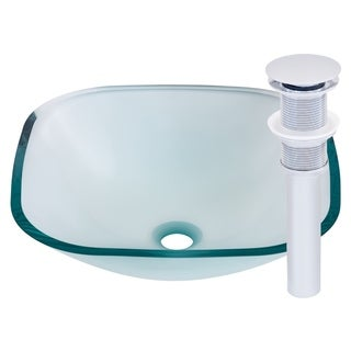 Novatto Piazza Chrome Tempered Glass/Brass Vessel Bathroom Sink Set