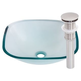 Novatto Piazza Brushed Nickel Glass Vessel Bathroom Sink Set