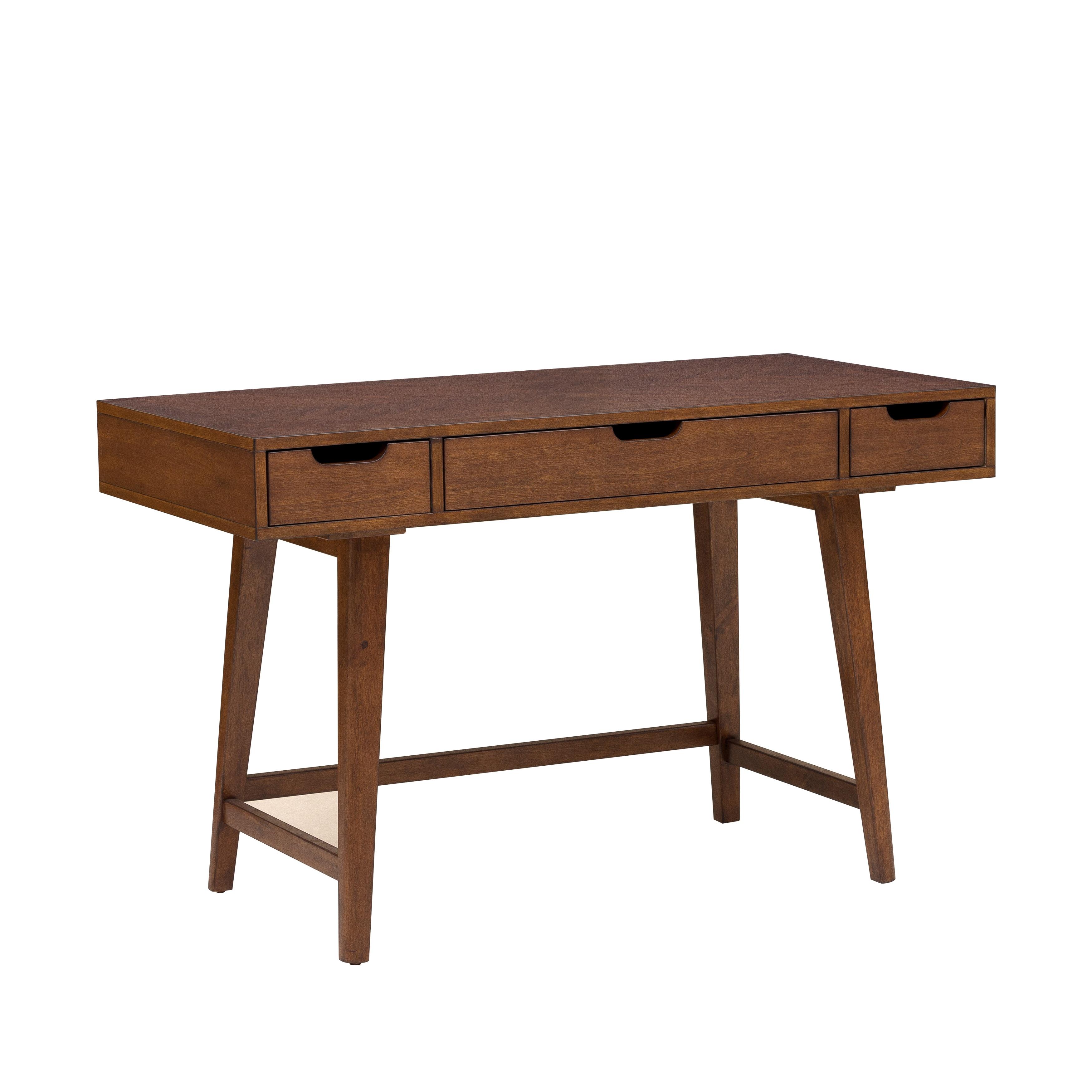 Mid Century Modern Light Walnut Finished Writing Desk