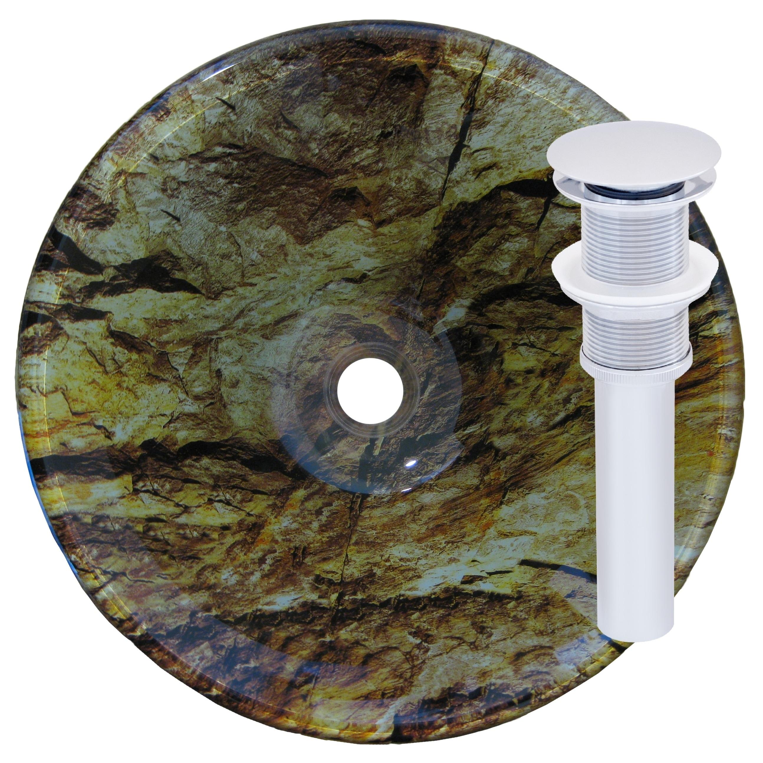 Novatto Mimetizzare Chrome Glass Vessel Bathroom Sink Set...