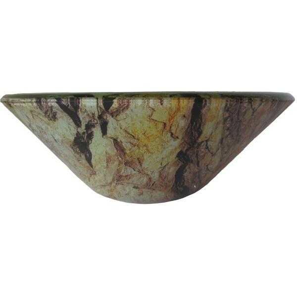 Novatto Mimetizzare Brushed Nickel Brass/Glass Vessel Bathroom Sink Set