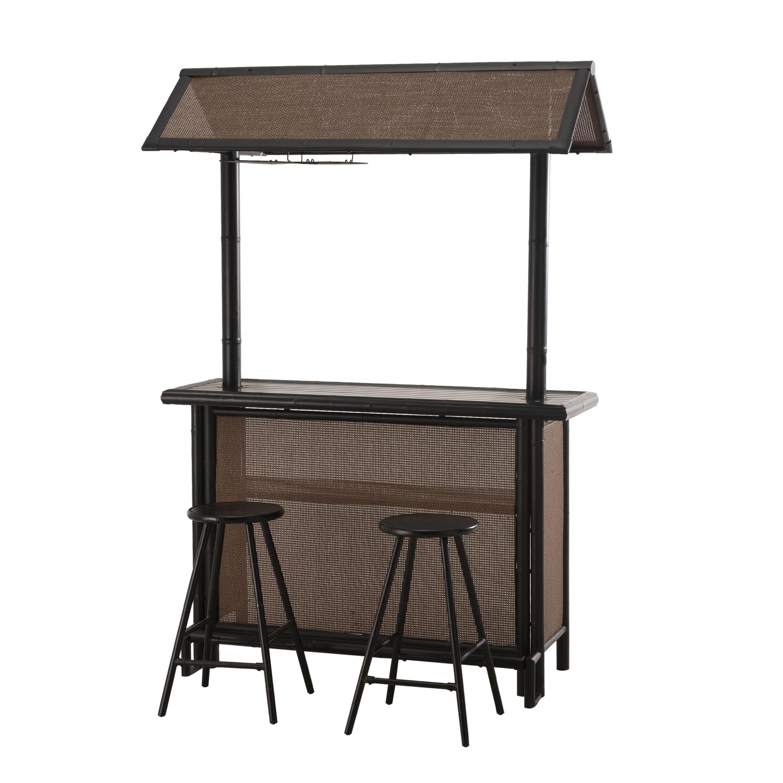 SunJoy Fiji 3 Piece Patio Bar Set, Tan, Patio Furniture (.