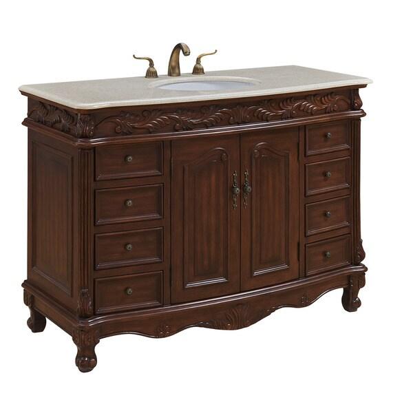 """48"""" Arlea Single Bathroom Vanity Set in Teak Color"""