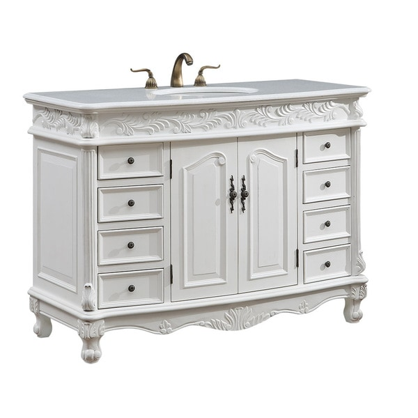 bathroom cabinets vintage style shop 48 quot arlea single bathroom vanity set in antique white 15670