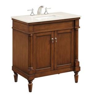 """30"""" Olivie Single Bathroom Vanity Set in Brown"""