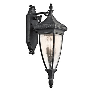 Kichler Lighting Venetian Rain Collection 2-light Black w/Gold Outdoor Wall Lantern