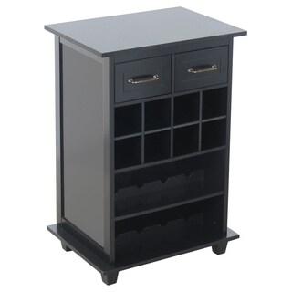 Black Wooden 2-drawer Wine Storage Table