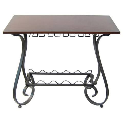 Wood and Metal Curved Leg Wine Storage Console Table