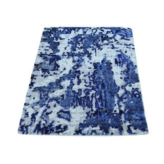 Hand-Knotted Wool And Bamboo-Silk Abstract Design Rug (2'x3')