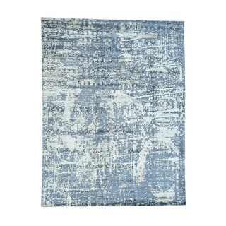 """Wool And Bamboo-Silk Abstract Design Hand-Knotted Rug (9'2""""x12')"""