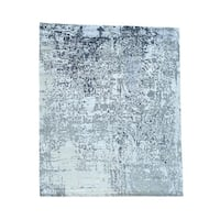 """Wool And Bamboo-Silk Abstract Design Hand-Knotted Rug (8'x9'9"""")"""