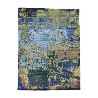 Handmade Abstract Design Wool And Bamboo-Silk Rug (8'10x11'8)