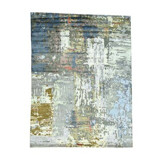 "Hand-Knotted Abstract Design Wool And Bamboo-Silk Rug (9'x11'10"")"