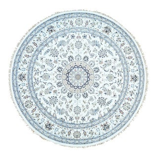 Round Hand-Knotted Wool and Silk 250 Kpsi Nain Carpet (10'x10')