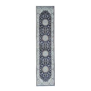 "Handmade Wool and Silk 250 Kpsi Nain Oriental Runner Rug (2'4""x10')"