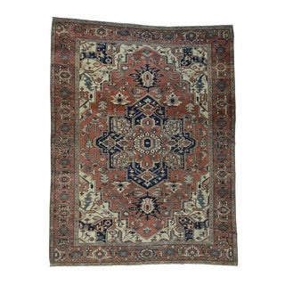 Hand-Knotted Antique Persian Serapi Rug (10'1x13'1)