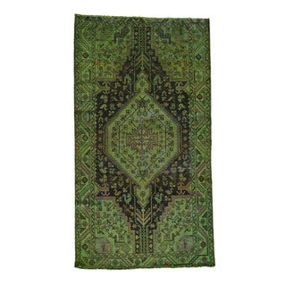 Handmade Fine Wool Nahavand Overdyed Wide Runner Rug (5'4x9'8)