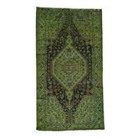 Handmade Fine Wool Nahavand Overdyed Wide Runner Rug - 5'4x9'8