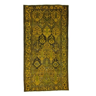"Hand-Knotted Persian Bakhtiari Overdyed Wide Runner Rug (5'2""x10')"