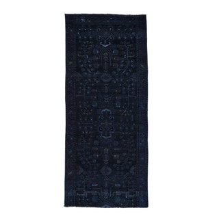 Hand-Knotted Persian Hamadan Overdyed Wide Runner Rug (4'x9')