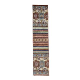 Hand-Knotted Super Kazak Khorjin Design Oriental Carpet (2'2x9'8)