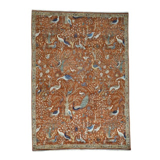 "Hand-Knotted Birds of Paradise Tree of Life Rug (10'x14'2"")"