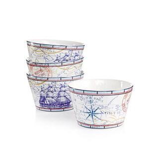222 Fifth Clipper Blue Porcelain Appetizer Bowls (Set of 4)
