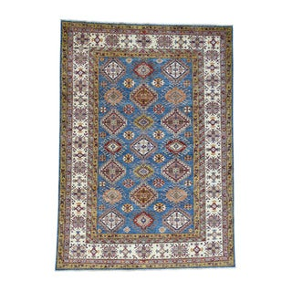 Hand-Knotted Fine Wool Super Kazak Denim Blue Rug (6'8x9'5)