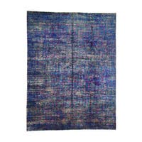 Hand-Knotted Modern Sari-Silk Colorful Rug (8'9x11'7)