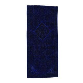 Handmade Overdyed Persian Hamadan Wide Runner Rug (3'4x7'6)