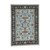 "Hand-Knotted Light Blue Heriz Fine Wool Rug (6'x8'7"")"