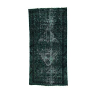 Hand-Knotted Overdyed Persian Hamadan Fine Wool Runner Rug (3'x6')